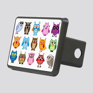 Colorful cute owls Rectangular Hitch Cover
